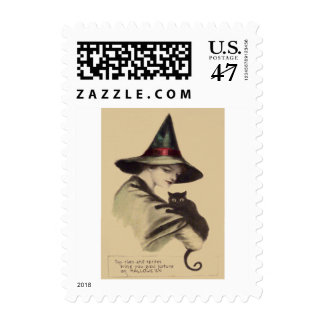 Smiling Happy Witch Black Cat Postage