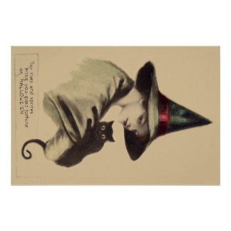 Smiling Happy Witch Black Cat Poster