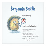 "Smiling Hedgehog Personalized Kids Birthday Invite 5.25"" Square Invitation Card"