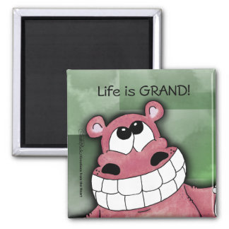 Smiling Hippo-Pink Fridge Magnets