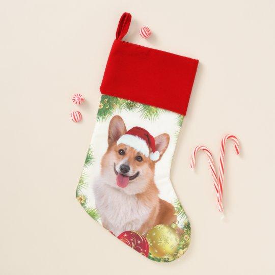smiling holiday corgi christmas stocking - Corgi Christmas
