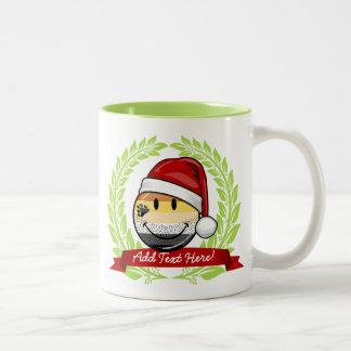 Smiling Holiday Gay Bear Pride Flag Two-Tone Coffee Mug