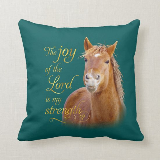 Smiling Horse Bible Quote Throw Pillow