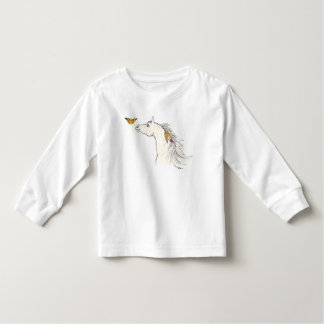 Smiling horse drawing with butterfly T-Shirt