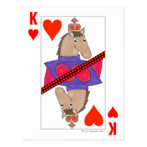 Smiling Horse King of Hearts Postcard