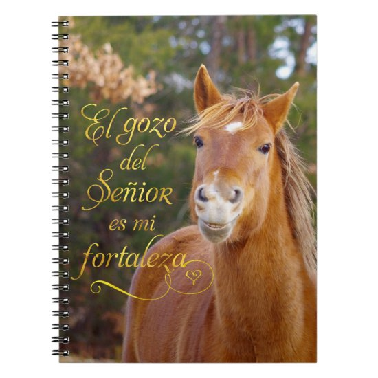 Smiling Horse Spanish Bible Verse Photo Notebook