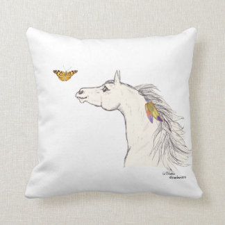 Smiling Horse with a butterfly & feathers Pillow. Throw Pillow
