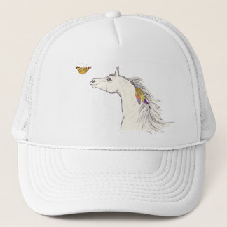Smiling Horse with butterfly & feathers Hat