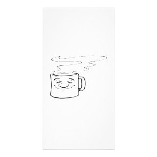 Smiling Hot Cup of Coffee Customized Photo Card