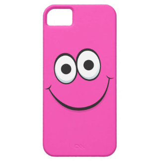 Smiling hot pink happy cartoon smiley face funny iPhone SE/5/5s case