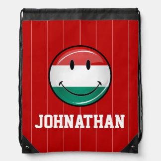 Smiling Hungarian Flag Drawstring Backpack