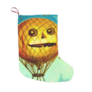 Smiling Jack O Lantern Air Balloon Stars Small Christmas Stocking