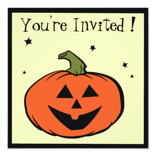 "Smiling Jack-O-Lantern Halloween Party Invitation 5.25"" Square Invitation Card"