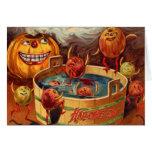 Smiling Jack O' Lantern Pumpkin Apple Card