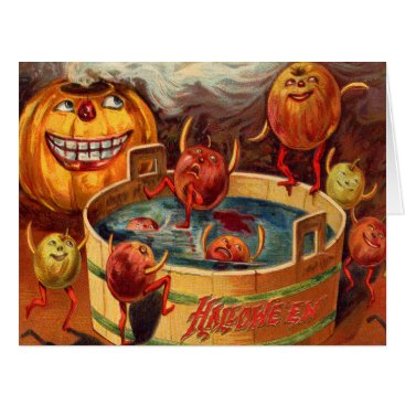 Halloween Themed Smiling Jack O' Lantern Pumpkin Apple Card