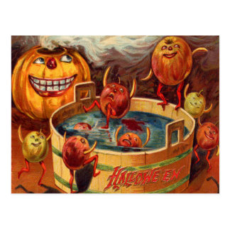 Smiling Jack O' Lantern Pumpkin Apple Postcard