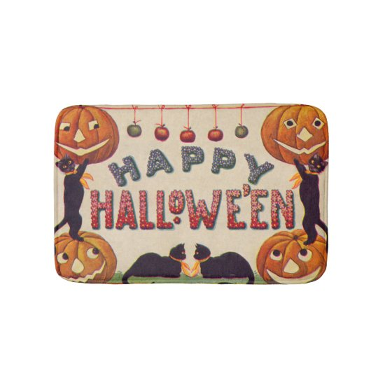 Smiling Jack O Lantern Pumpkin Black Cat Apples Bathroom Mat