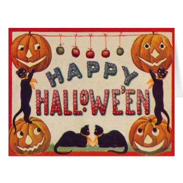 Halloween Themed Smiling Jack O Lantern Pumpkin Black Cat Apples Card