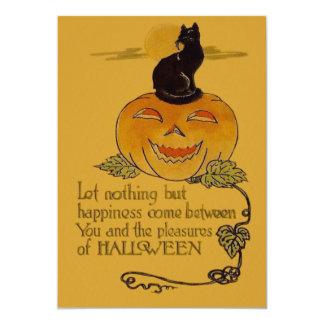 Smiling Jack O Lantern Pumpkin Black Cat Vine 5x7 Paper Invitation Card