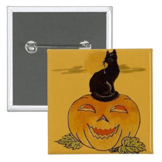 Smiling Jack O Lantern Pumpkin Black Cat Vine Button