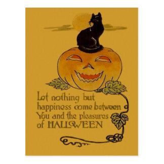 Smiling Jack O Lantern Pumpkin Black Cat Vine Postcard