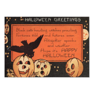 Smiling Jack O Lantern Pumpkin Owl Man In The Moon 5x7 Paper Invitation Card