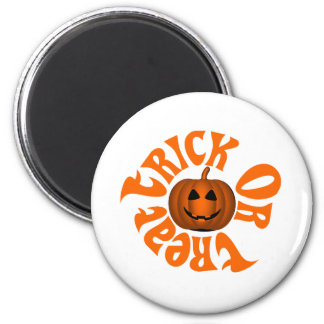 Smiling Jack O Lantern surrounded by Trick or Trea Magnet