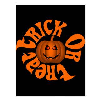Smiling Jack O Lantern with Orange Eyes Postcard