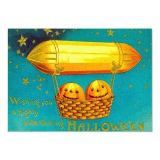 Smiling Jack O Lantern Zeppelin Float Stars Night 5x7 Paper Invitation Card