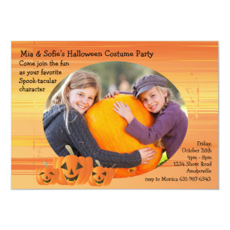 Smiling Jack-O-Lattern Photo Invitation