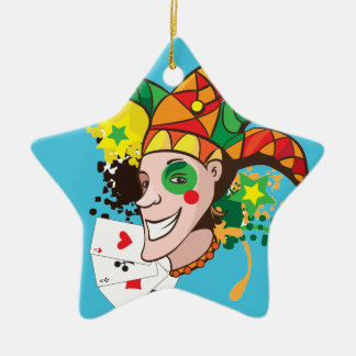 Smiling joker with cards ceramic ornament
