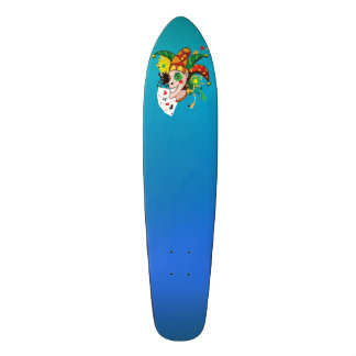 Smiling joker with cards skateboard