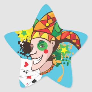 Smiling joker with cards star sticker