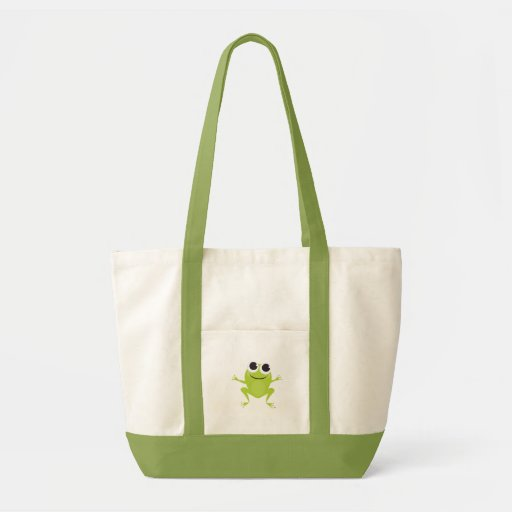 Smiling, Jumping, Green Frog on Green Tote Bag