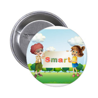 Smiling kids holding a signboard 2 inch round button