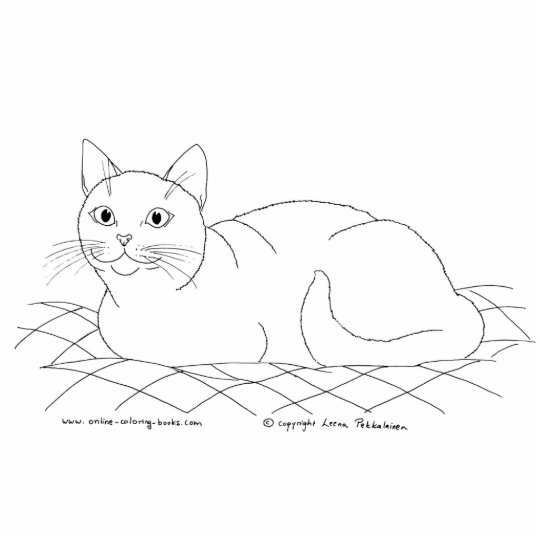Smiling Kitty Line Drawing Statuette