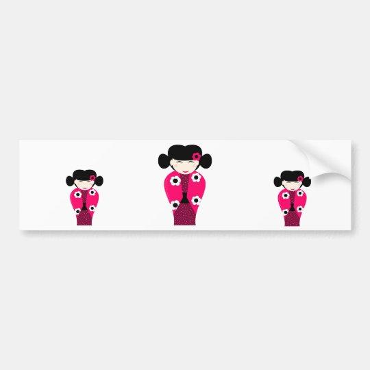 Smiling Kokeshi headstock personnalisable Bumper Sticker