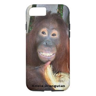Smiling Krista Orangutan in Borneo with coconut iPhone 8/7 Case