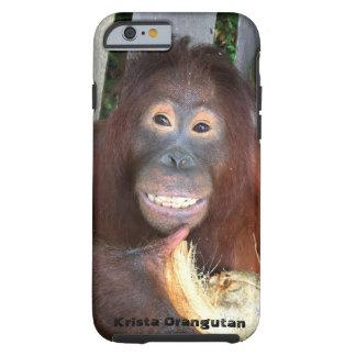 Smiling Krista Orangutan in Borneo with coconut Tough iPhone 6 Case