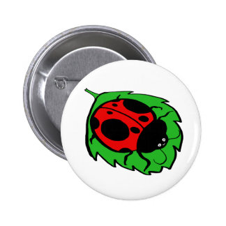 Smiling Ladybug on a Green Leaf Buttons