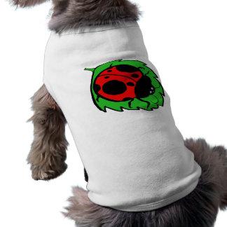 Smiling Ladybug on a Green Leaf Doggie T Shirt