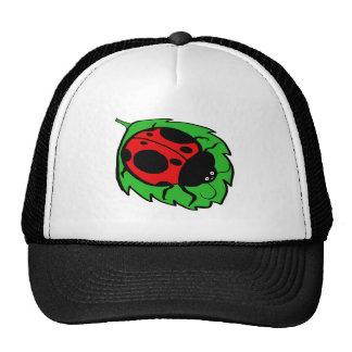 Smiling Ladybug on a Green Leaf Trucker Hat