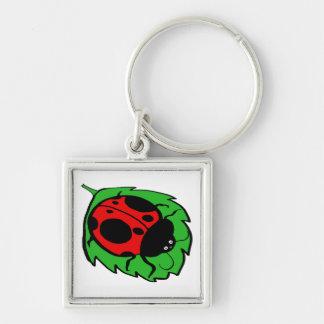 Smiling Ladybug on a Green Leaf Keychain
