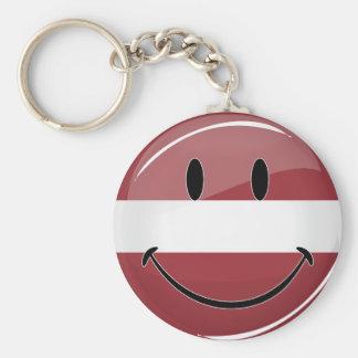 Smiling Latvian Flag Keychain