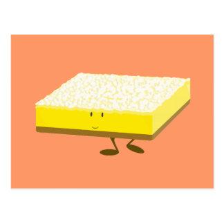 Smiling lemon bar character postcard