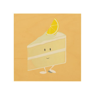 Smiling lemon cake slice wood print