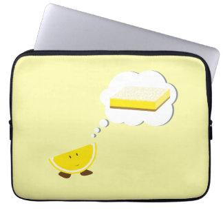 Smiling lemon thinking of a lemon bar laptop sleeve