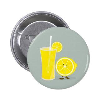 Smiling lemon with lemonade pinback button