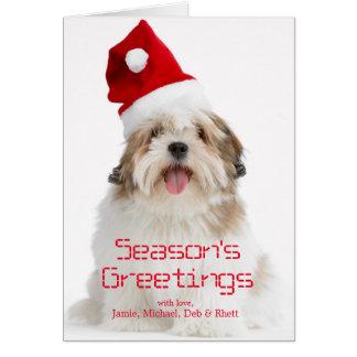 Smiling Lhasa Apso Dog Wearing Santa Hat Greeting Card