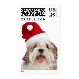 Smiling Lhasa Apso Dog Wearing Santa Hat Postage Stamps